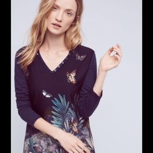 Anthropologie Akemi + Kin blue butterfly henley